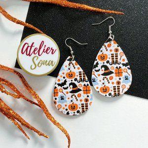 Halloween Tear Drop Earrings - White/Orange